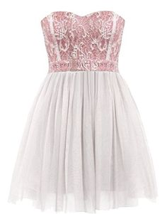 Strawberry Shortcake Dress: Features an elegant strapless cut teamed with a flattering sweetheart neckline, delicate white lace bodice with pink liner for pop, corset-style piping to the front, and a brilliant white twirl-worthy skirt to finish. elfsacks
