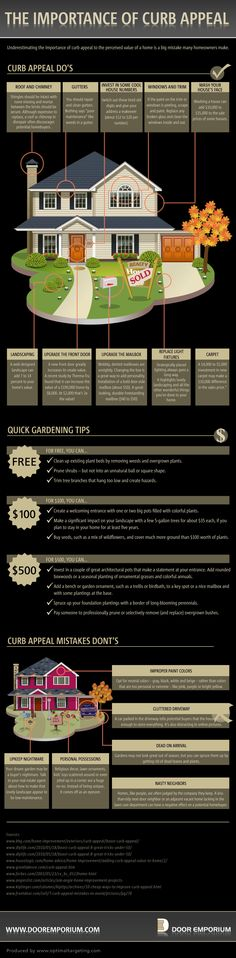 Overall a good infographic on the importance of curb appeal. At the minimum keep in mind the what Mistakes Not to Do to improve curb appeal in a pinch. Home Selling Tips, Selling Your House, Home Staging, Eco Casas, Concord, Up House, Sell House, Real Estate Tips, Deco Design