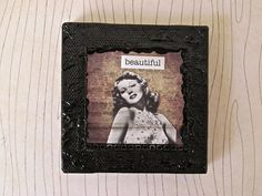 You are Beautiful Mini Art Mixed Media Collage Canvas by ladyjennd