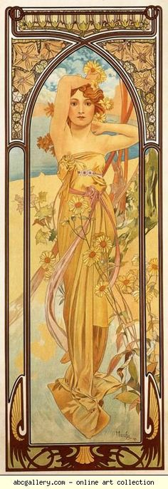 4-part series on times of day. I'd like to put in the bedroom. Alphonse Mucha. Brightness of Day. From The Times of the Day Series. Olga's Gallery.