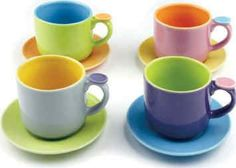 OmniWare 1100290 Hemisphere Demitasse Cup & Saucer Set (Set of Coffee Mug Sets, Mugs Set, Coffee Club, Coffee Talk, English Tea Store, Ceramic Tableware, Kitchenware, Espresso Cups Set, Kitchen Items