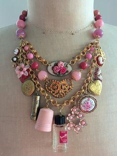RESERVED FOR DEBORAH Vintage Necklace, Charm Necklace, Vintage Vanity, Perfume, lipstick - Pretty in Pink