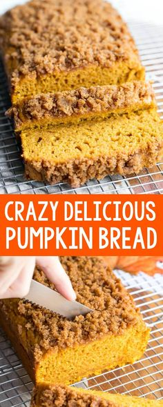 This Pumpkin Bread with Cinnamon Sugar Streusel has a quick and easy trick for making canned pumpkin taste AWESOME! This is hands-down our favorite fluffy pumpkin bread recipe ever. So moist and delicious! Baking Recipes, Dessert Recipes, Dessert Bread, Appetizer Dessert, Pumpkin Dessert, Pumpkin Breakfast, Fall Baking, Fall Desserts, Fall Snacks