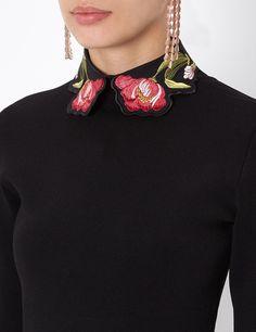 Black Embroidered Ginkgo Collar