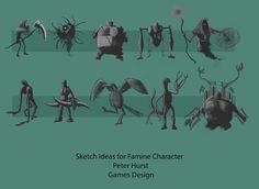 Character ideas sheet - Famine (Horseman of the Apocalypse).