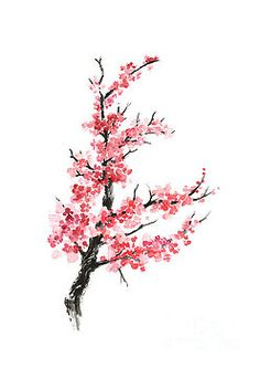 Cherry blossom branch watercolor poster by Joanna Szmerdt
