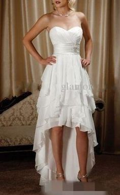Simple Chiffon High Low Country Wedding Dress White Summer Beach Bridal Gown New | Clothing, Shoes & Accessories, Wedding & Formal Occasion, Wedding Dresses | eBay!