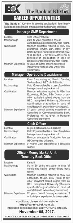 The Bank Of Khyber Jobs 2017 In Peshawar For Manager Operations And Cash Officer http://www.jobsfanda.com/the-bank-of-khyber-jobs-2017-in-peshawar-for-manager-operations-and-cash-officer/