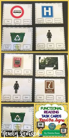 Great for life skills and special education classrooms, these 70 task cards focus on environmental print to read a variety of words and match them to the community signs. $