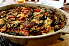 ratatouille - I make this like my Dad used to, from home-grown courgettes. We'd be eating it non-stop for weeks during bumper summers. Olives, Easy Ratatouille Recipes, Polenta Recipes, Veggie Tales, Exotic Food, Supper Recipes, Main Dishes, Good Food, Kitchens