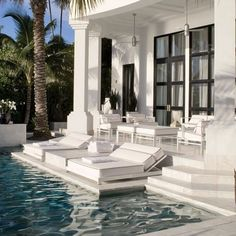 White marble paves an Egyptian-inspired Miami terrace and pool by interior designer Juan Montoya. Cool Swimming Pools, Best Swimming, Lap Pools, Indoor Pools, Backyard Pools, Pool Decks, Pool Landscaping, Outdoor Spaces, Outdoor Living