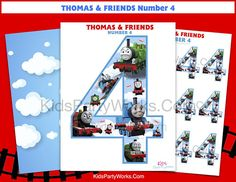 Thomas the Train - Thomas Birthday-Thomas and Friends-Thomas and Friends Printable-Thomas Party-Thomas the Tank-Thomas Centerpiece-Number 4 Thomas Train Birthday, Thomas The Train, Friend Birthday, 4th Birthday, Kids Birthday Cupcakes, Birthday Cakes, Birthday Numbers, Thomas And Friends, Photo Booth Props
