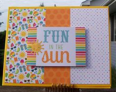 https://flic.kr/p/tWxNGP | Fun in the Sun | Made with the June, 2015, Simon Says Stamp Card Kit.  Patterned paper by Doodlebug.