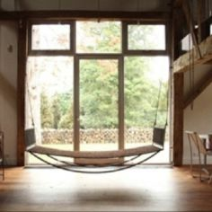 Indoor Hammock perfectly placed!   http://www.apartmenttherapy.com/chicago/inspiration/a-quiet-place-hanging-hammocks-indoors-144830