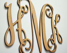 "Home Decor, 24"" or 32"" Wooden Monogram, Wall Art, Initial monogram,Unpainted…"