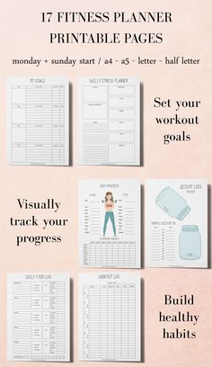 Workout Planner, Fitness Planner, Printable Planner Kit, Workout Tracker Printable Having a fit and fit Monthly Meal Planner, Weekly Planner Template, Printable Planner, Printables, Food Planner, Planner Diy, Budget Planner, Schedule Printable, Weekly Schedule