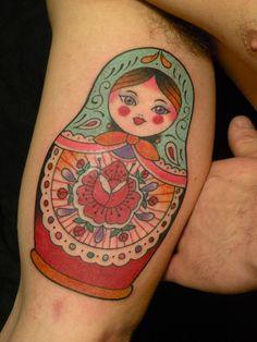 Matryoshka Tattoo On Muscles For Men Life Tattoos, Body Art Tattoos, Sleeve Tattoos, Cool Tattoos, Girly Tattoos, Babushka Tattoo, Russian Doll Tattoo, Nesting Doll Tattoo, Bicep Tattoo