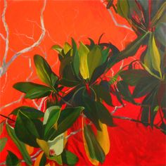 Carole King Mangrove Flowers - 2015 Synthetic polymer and acrylic on canvas 91 x 91 cm   'RED' - Expressionism Group Exhibition at SOFITEL Gold Coast