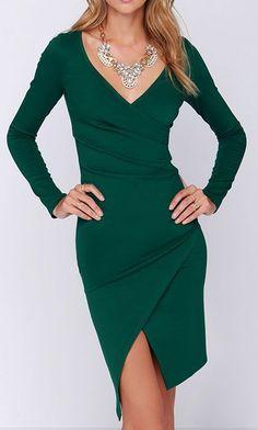 Shakedown Forest Green Long Sleeve Midi Dress