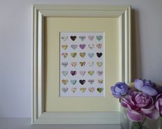 Paper Heart Wall Art Colourful Purple Palette 8 by Purple Palette, Heart Wall Art, Hearts, Paper, Unique Jewelry, Frame, Handmade Gifts, Etsy, Vintage