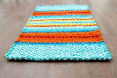 Twined Rag Rug Cotton Rug Turquoise Orange by KrasneytheRugMaker