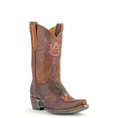 """Gameday Boots 10"""" Short Leather Auburn Cowboy Boots"""