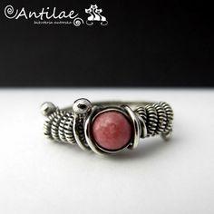 Rodonit, srebro, pierścionek - Antilae - biżuteria autorska