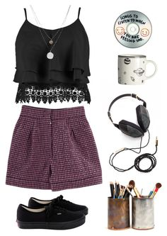 """""""not your manic pixie dream girl"""" by septembrie ❤ liked on Polyvore featuring Molami, Nina Ricci, Boohoo, Kenneth Cole, Vans and H&M"""