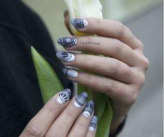 La première / Ombre manicure + ręcznie malowane wzorki