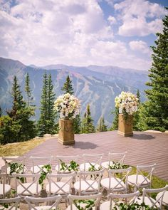 The views... the weather ... the pure beauty of Aspen Colorado was a backdrop in its own for Misty and Matt's gorgeous ceremony photographed by @brianleahyphoto. (Photo: @brianleahyphoto | Venue: @TheLittleNell | Design Florals: @bflive | Rentals: @bflive @bellaacento | Wedding Gown: @warrenbarronbridal) @mistyduncanday
