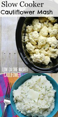 Low carb slow cooker mashed cauliflower #paleorecipes #paleohacks #21dsd #keto