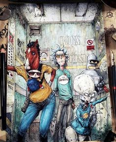 Bojack, Rick, Stewie, Bender and Roger Bojack Horseman x Rick and Morty x Futurama x Family Guy x American Dad Futurama, Drawings, Cartoon Noses, Cool Cartoons, Art, Best Cartoon Characters, Cartoon, Cartoons Comics, Rick And Morty Poster
