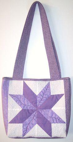 Purple LeMoyne Star Quilt Block Tote Bag