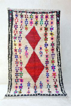LIBRARY OF FLOWERS 7'11 x 4'7 Boucherouite Rug. Tapis by pinkrugco