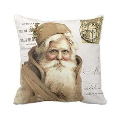 Christmas Pillow Cover Holiday Christmas Santa Gold Pillow Cotton and... ($35) ❤ liked on Polyvore featuring home, home decor, throw pillows, decorative pillows, home & living, home décor, silver, gold accent pillows, holiday home decor and gold toss pillows