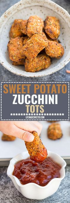 Sweet Potato & Zucchini Tots make the perfect easy & healthy snack. Best of all, they're paleo friendly, gluten free, vegan, and whole 30 compliant. Only a SIX ingredients and kids & adults love them! paleo dinner for kids Baby Food Recipes, Paleo Recipes, Whole Food Recipes, Cooking Recipes, Free Recipes, Easy Cooking, Healthy Cooking, Healthy Fryer, Cooking Videos
