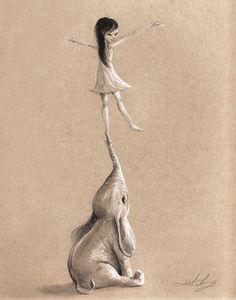 #illustration #kurtchangart #art #friendship #adorable #drawing #sketching #sketch #blackanwhite #animals #elephant #Cute #charcoal #lighting #surreal #surrealart #girl #smile #girl #happy