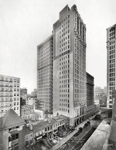 """New York, 1918. """"Lewisohn Building, 119 W. 40th Street. Maynicke & Franke, architects."""" Dwarfed by its newer neighbors 101 years after its completion, this 22-story, 325-foot tower still stands. Irving Underhill photo."""