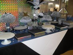 Pretty idea for Auction Desserts Table - fundraiser party. Just waiting for desserts....