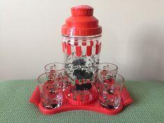 Vintage Hazel Atlas Mixed Drink Recipes Glass Bar Set Shaker Tray 4 Barber Shop