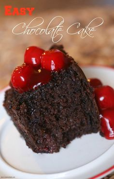 Easy Moist Chocolate Cake Recipes with Cherries and and cookie butter. Make this in the oven or the crockpot http://madamedeals.com/easy-moist-chocolate-cake-recipes/ #cakerecipes #recipes #inspireothers