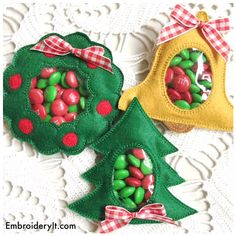 Decorate your tree, set on the table, hang on door knobs or cabinet handles are just some of the many ways you can decorate using these fun machine embroidered Christmas Candy Holders.  There are three different designs in this collection that are perfect for gift giving or decorating for the Christmas and winter. In this set you will receive the digital files for candy holders. They are a pine tree, wreath and a bell.  Using a simple reverse applique with clear vinyl in the center allows…