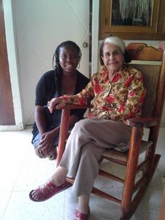 """Exchange student Chelsea Johnson with Dominican Republic, visiting Dede Mirabal Posada, one of the famous three (and only surviving) Mirabal sisters, """"Las Mariposas,"""" who fought dictatorship and two sisters were murdered."""