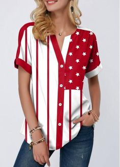 Split Neck Button Up Star Print Blouse Trendy Tops For Women, Blouses For Women, Denim T Shirt, Star Clothing, Casual Outfits, Fashion Outfits, Casual Tops, Stylish Tops, Plus Size Tops