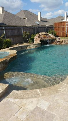 Re: New Build - IG Pool/Spa/Grotto - Little Elm,TX upd Blue Granite looks teal? Pool looks amazing! Small Backyard Pools, Backyard Pool Landscaping, Backyard Pool Designs, Swimming Pools Backyard, Swimming Pool Designs, Outdoor Pool, Backyard Ideas, Lap Pools, Indoor Pools