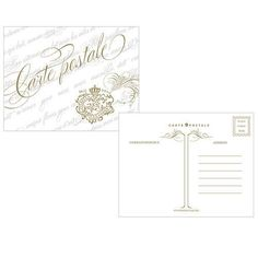 Parisian Love Letter Post Card Vintage Gold (Pack of 1)