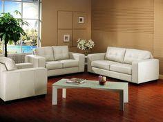 Baxton Studio Whitney Ivory Leather Modern Sofa Set