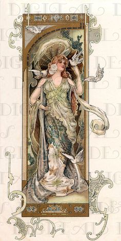 An art nouveau postcard illustration featuring a woman wearing an ornate diaphonous gown and elaborate headpiece, surrounded by white doves and graphic motifs, circa Get premium, high resolution news photos at Getty Images Art Nouveau Mucha, Alphonse Mucha Art, Bijoux Art Nouveau, Art Nouveau Poster, Art And Illustration, Art Altéré, Arte Art Deco, Design Art Nouveau, Etiquette Vintage
