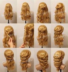 29 Ideas Braids Hairstyles Tutorials Messy - All For Bride Hair Style New Braided Hairstyles, Braided Hairstyles Tutorials, Fancy Hairstyles, Wedding Hairstyles, Hair Tutorials, Pinterest Hair, Hair Designs, Bridal Hair, Hair Inspiration