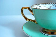 Tiffany Blue & Gold Cup & Saucer
